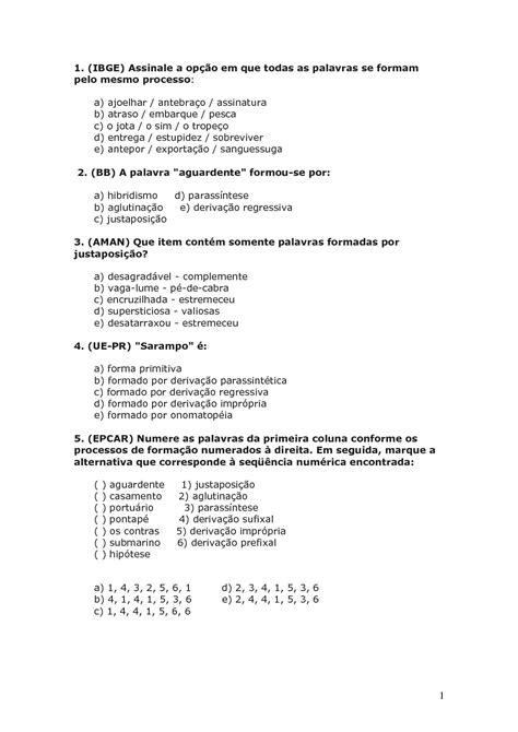 Calaméo - Exercicios Formação De Palavras