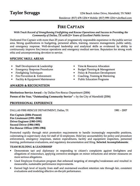 sample resume fire captain resumes design