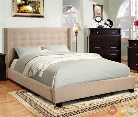 ivory bedroom furniture artemis contemporary ivory platform bedroom set with nailhead trim cm7689