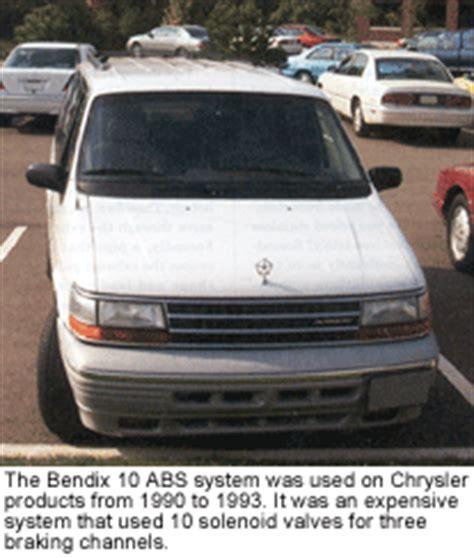 Chrysler Dodge Plymouth Minivan Bendix 10 Antilock Brakes