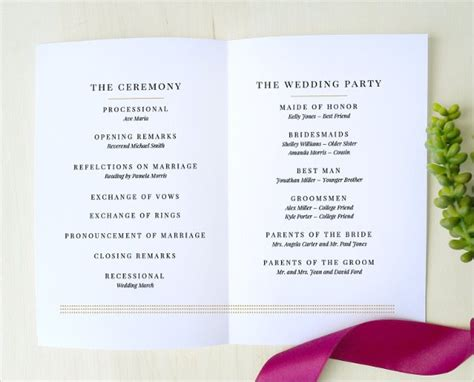 simple wedding program template wedding program template 64 free word pdf psd