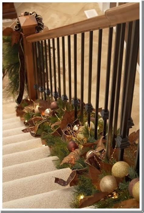 place garland at the base of the stair railing instead of