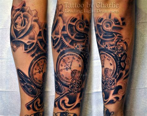 pocket watch sleeve tattoo in progress by gettattoo on