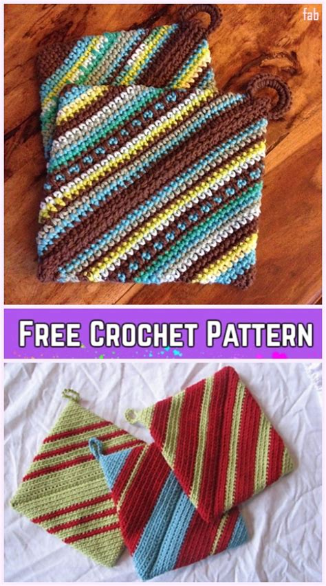 crochet double thick diagonal potholder  crochet