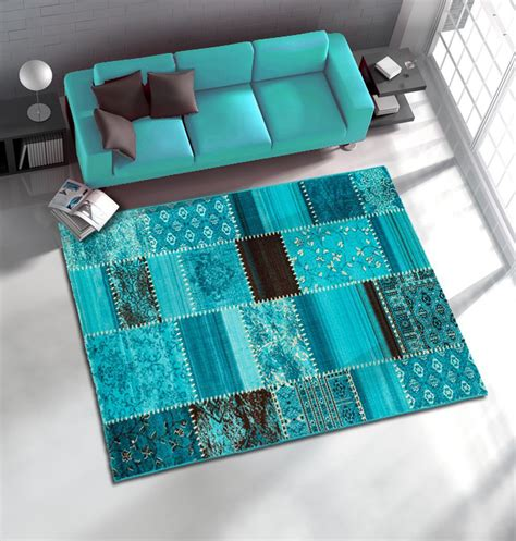 teppich patchwork rug woven rug patchwork rag rug optic in 4 sizes turquoise carpets modern rugs