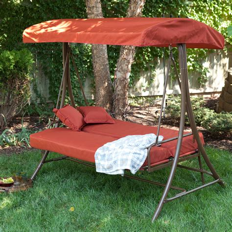 Swing Bed With Canopy Coral Coast Siesta 3 Person Canopy Swing Bed Terra Cotta Porch Swings At Hayneedle