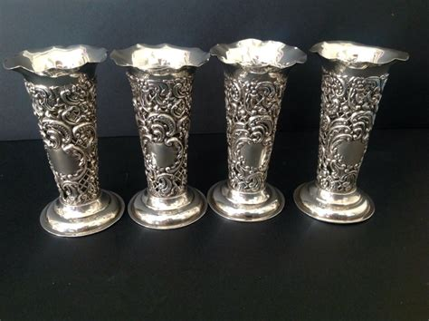 Antique Bud Vases by Set 4 Antique Silver Budposey Vases 1895