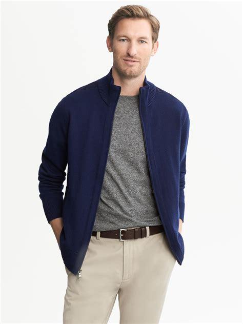 Zipper Sweater Jaket 1 banana republic navy zip sweater jacket navy in blue for navy lyst