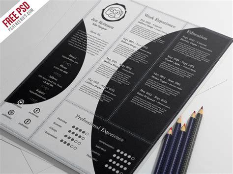 creative resume psd template free freebie creative and professional resume free psd