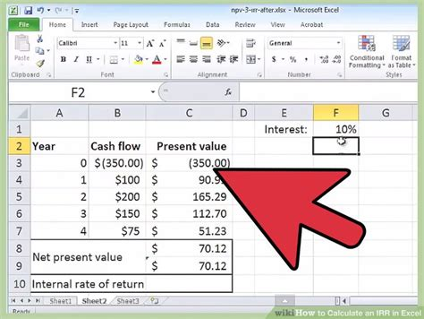 How To Calculate An Irr In Excel 10 Steps With Pictures Irr Calculator Excel Template