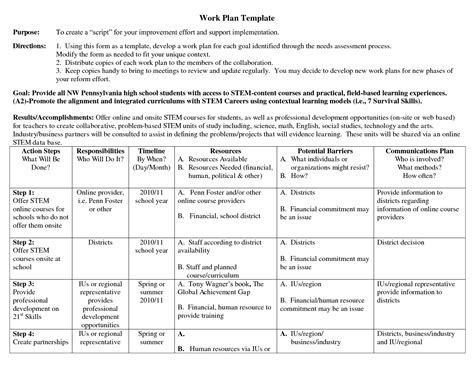 appealing business work plan template exle with purpose