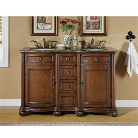 52 Inch Small Double Sink Vanity with Baltic Brown
