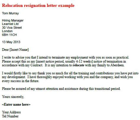 Resignation Letter Due To Relocation Sle Relocate Relocation Resignation Letter Learnist Org