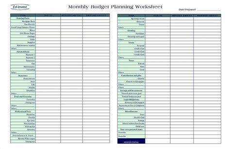 income and expense sheet flow monthly personal