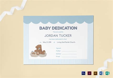 baby certificate template baby dedication certificate design template in psd word