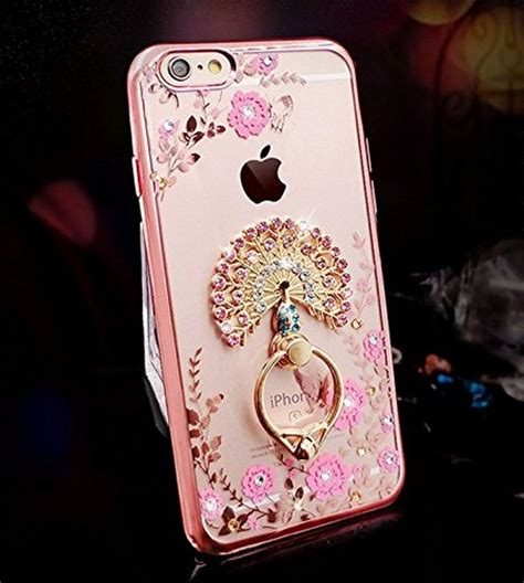 Softcase Flower Ring Stand For Iphone 7 iphone 7 soft silicone gold bumper sparkle bling crystals peacock