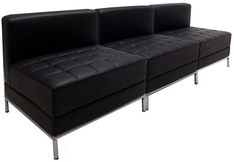 armless couches black tufted modular 3 seat armless sofa
