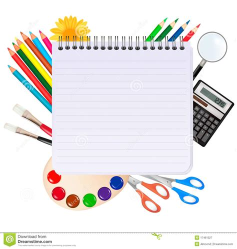 school supplies template vector free spiral notepad with school supplies vector royalty free