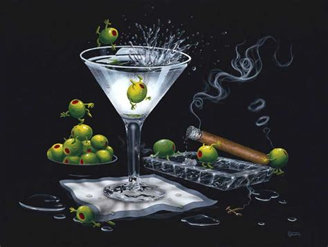 martini olive art michael godard art olive party and olive party ii