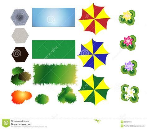 landscaping icons  stock vector image  patio garden