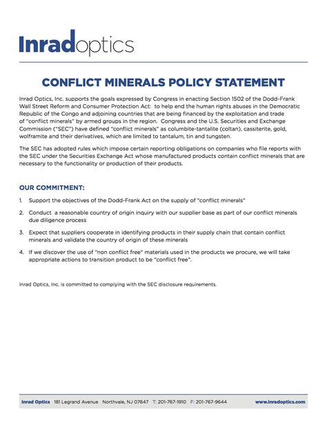 Quality Certifications Conflict Minerals Declaration Template