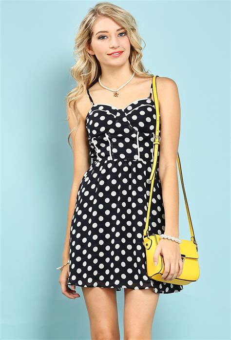 Mini Dress Polkadot Katun polka dot cami mini dress shop dresses at papaya clothing