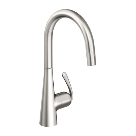 grohe pull out kitchen faucet grohe essence single handle pull out sprayer kitchen faucet in supersteel 32170dc0 the home depot