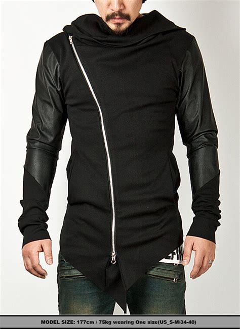 Jaket Vest Zipper Hoodie Dishonored 2 02 asymmetric leather assassin contrast sleeve diagonal zip