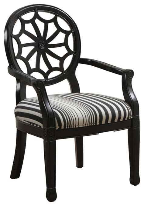 Black And White Striped Accent Chair Powell Black With Black Striped Spider Back Chair Traditional Armchairs And Accent Chairs