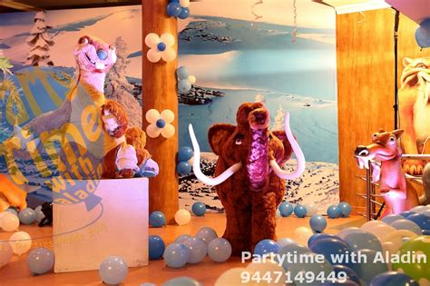 themed party organisers partytime with aladin ice age themed birthday party