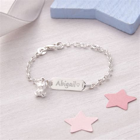 how to make baby jewelry baby s personalised sterling silver id bracelet hurleyburley