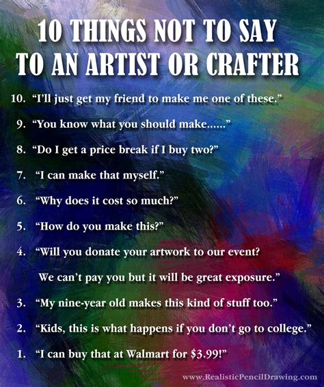 10 things not to say to an artist or crafter