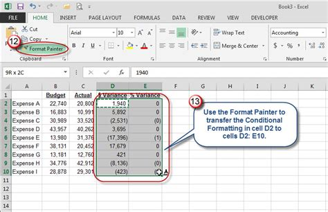 format painter excel microsoft excel use color to identify variances