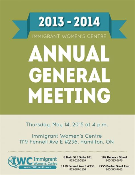 annual meeting invitation template immigrants working centre annual general meeting