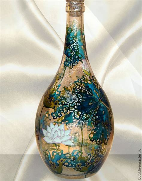 Handmade Bottles - copy of bottle lotus stained glass painting shop