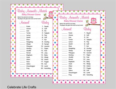 owl quiz printable baby animals match game with answer key printable baby