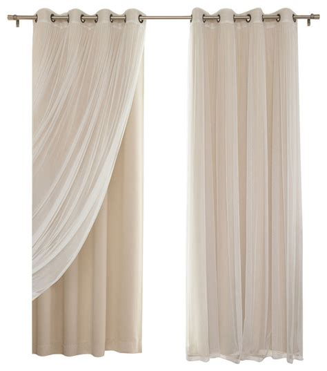 contemporary blackout curtains shop houzz gathered tulle sheer and blackout 4 piece