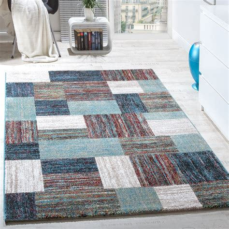 teppich blau carpet modern living room special mottled chequered