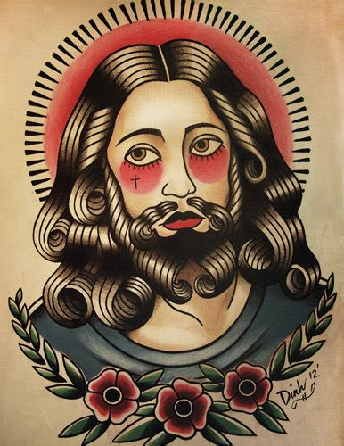 tattoo flash of jesus jesus tattoo flash art print by parlortattooprints on etsy