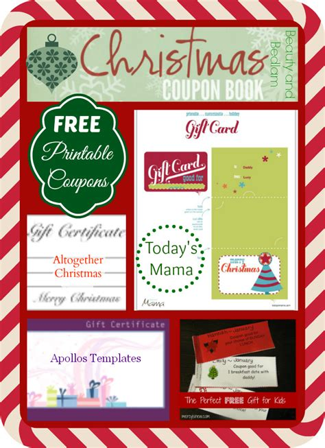 printable xmas coupons christmas printable gift certificates roundup blessed
