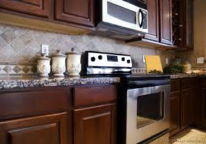 Kitchen Backsplash Ideas For Dark Cabinets by Tile Backsplash Ideas For Cherry Wood Cabinets Home