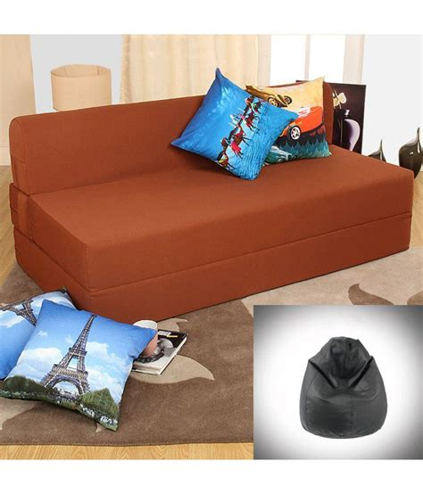 double bean bag sofa dolphin zeal double size sofa cum bed brown with free xxl black bean bag free combo buy online