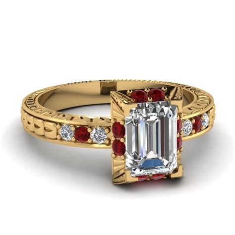 vintage deco emerald cut engagement ring with