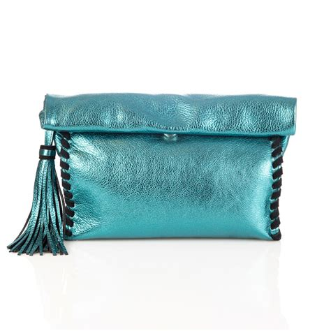 Handmade Leather Clutch Purse - mint metallic handmade leather clutch bag moods accessories