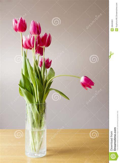 vasi per tulipani vaso con il mazzo di tulipani rosa immagine stock