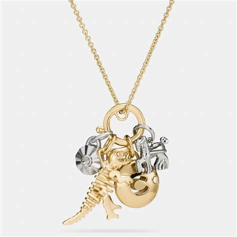 coach rexy skull charm set necklace in metallic lyst