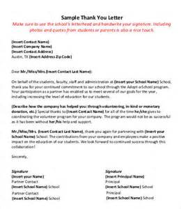 appreciation letter to principal from student thank you letter 8 free sle exle format