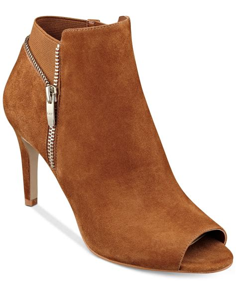Peep Toe Booties Galore by Marc Fisher Serenity Peep Toe Booties In Brown Lyst