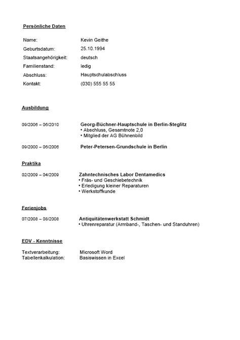 Lebenslauf Vorlage Hauptschule Bewerbung Und Lebenslauf Hauptschulabschluss Vorlagen Zum