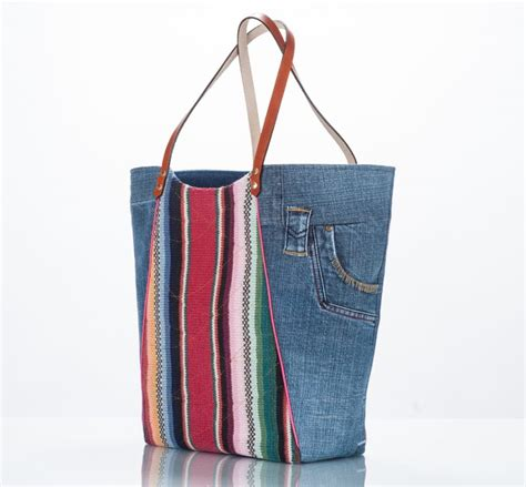 Denim Bag denim tote bag cotton stripe and pockets